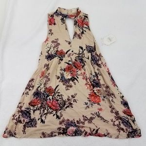 Altar'd State Dress S Mini Floral Keyhole Sleevele